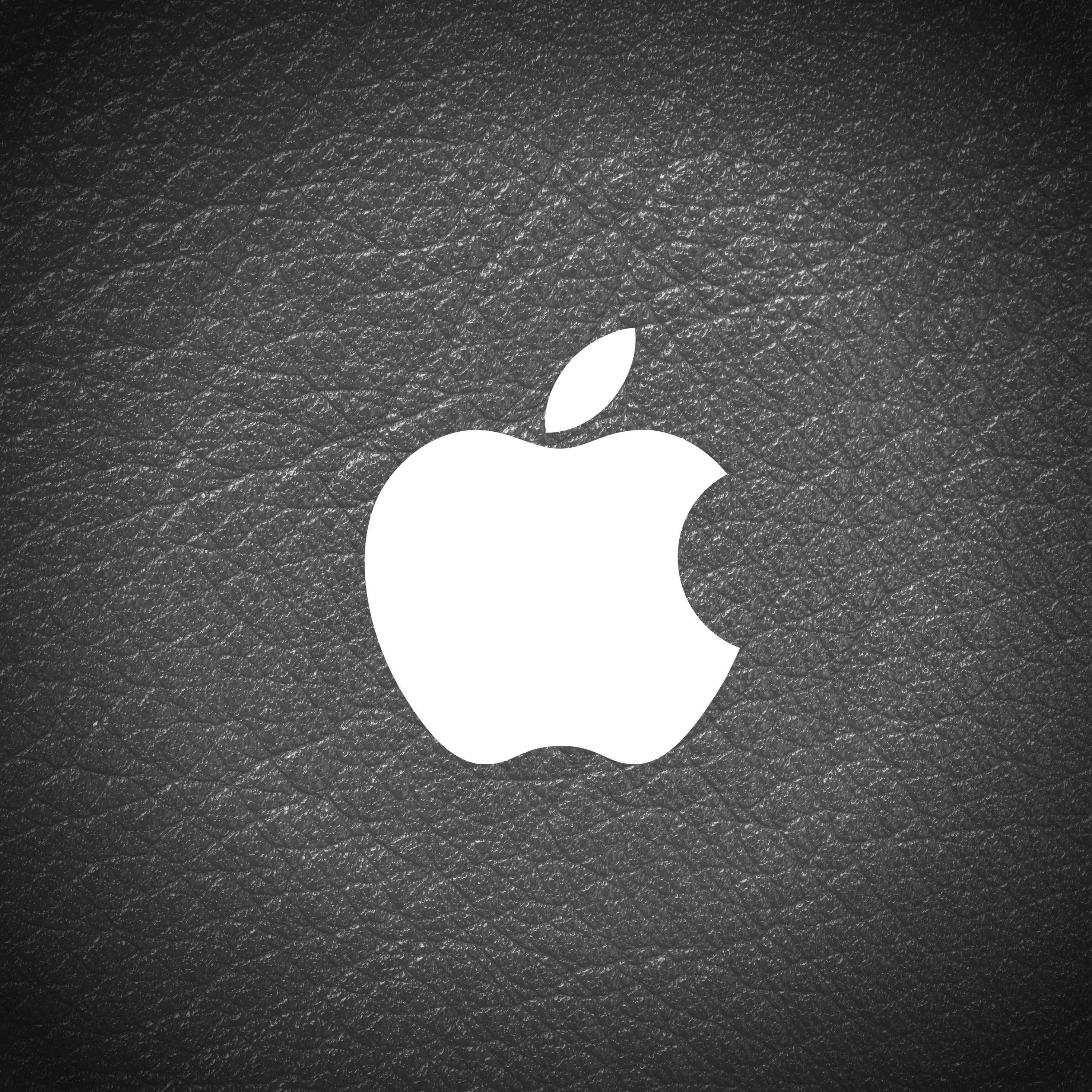 2932x2932 iPad Pro wallpaper 4k Apple Logo Leather Black and White iPad Wallpaper 2932x2932 pixels resolution