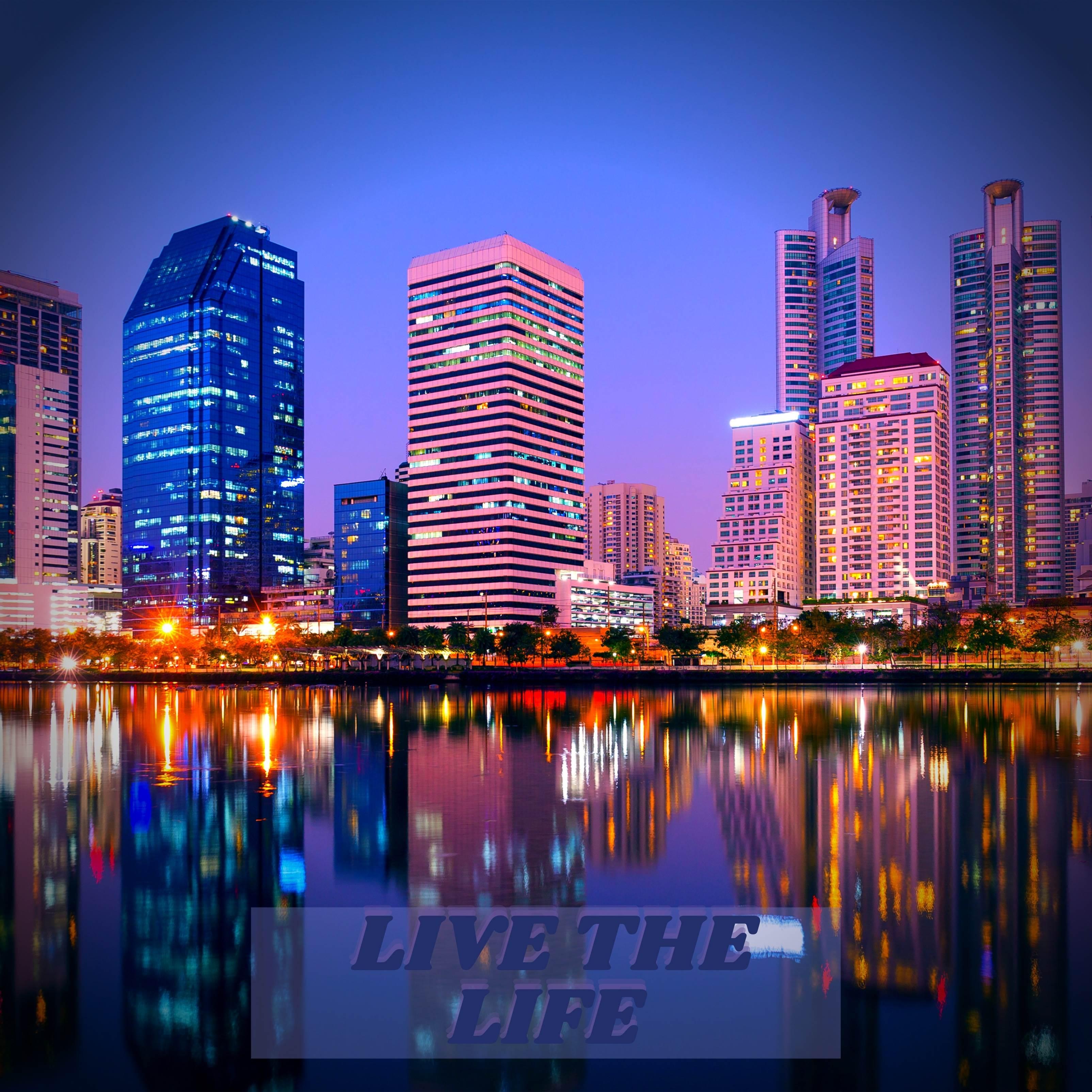 Bangkok City Skyscraper River Reflection iPad Wallpaper