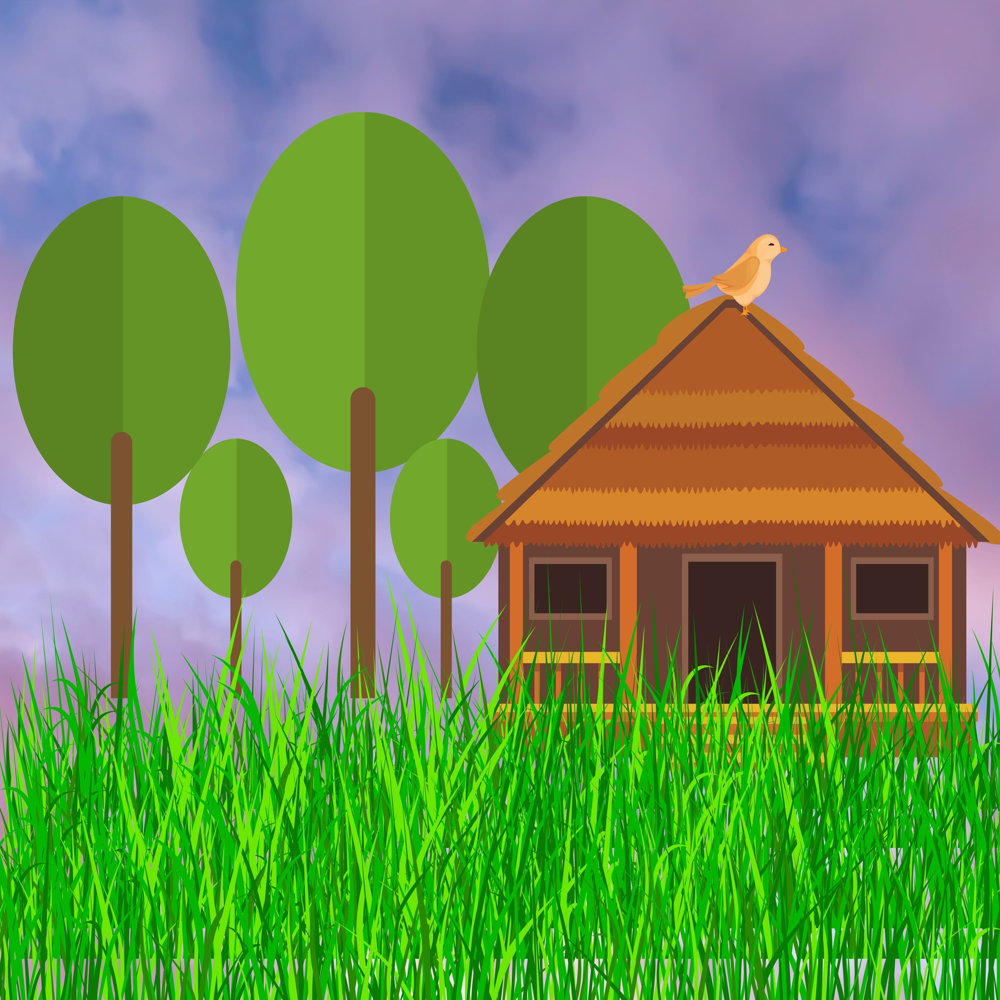 Cottage Grass Cloudy iPad Wallpaper