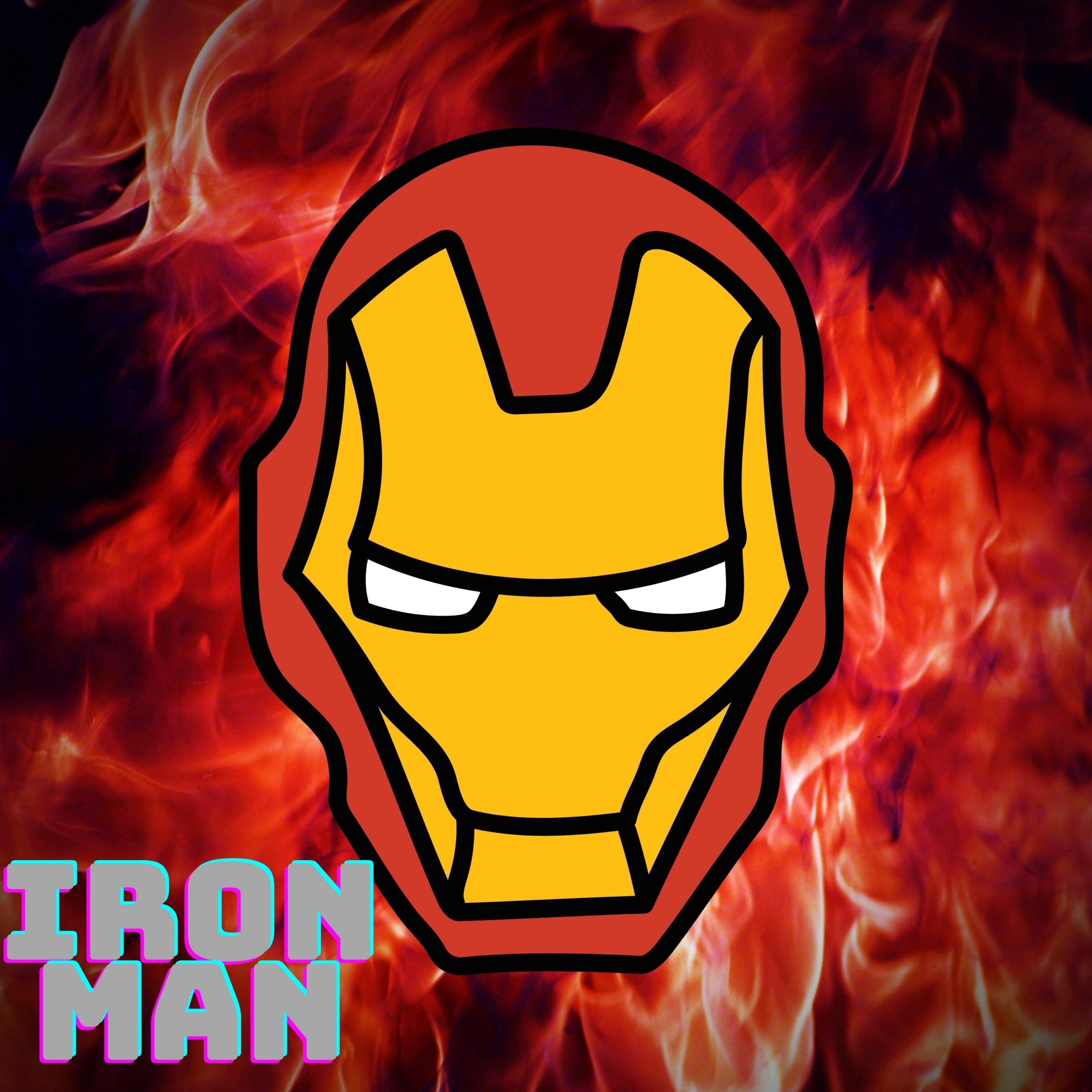 Iron Man Fire Background iPad Wallpaper