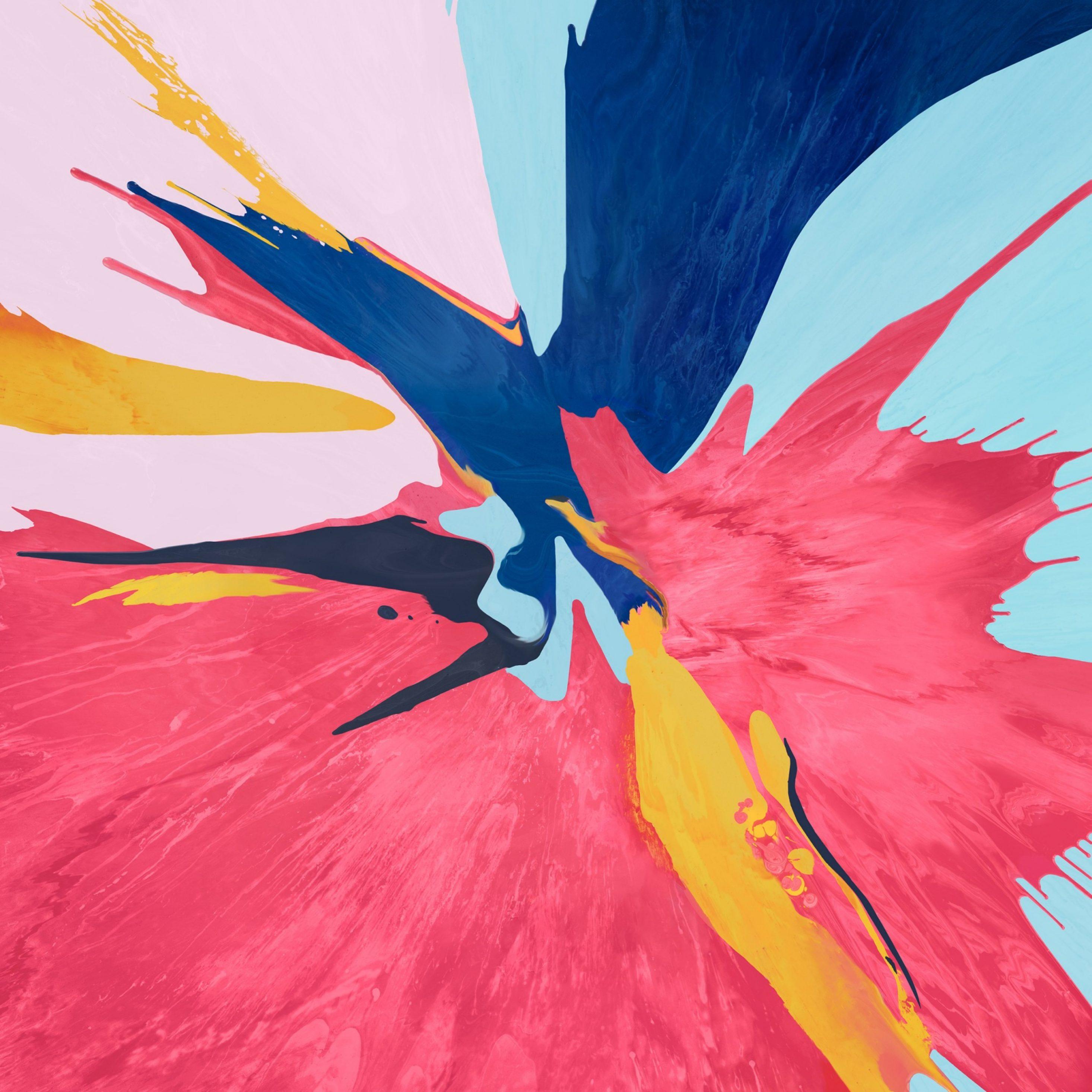 2932x2932 iPad Pro wallpaper 4k Spalsh Pink Yellow Blue Ipad Wallpaper 2932x2932 pixels resolution
