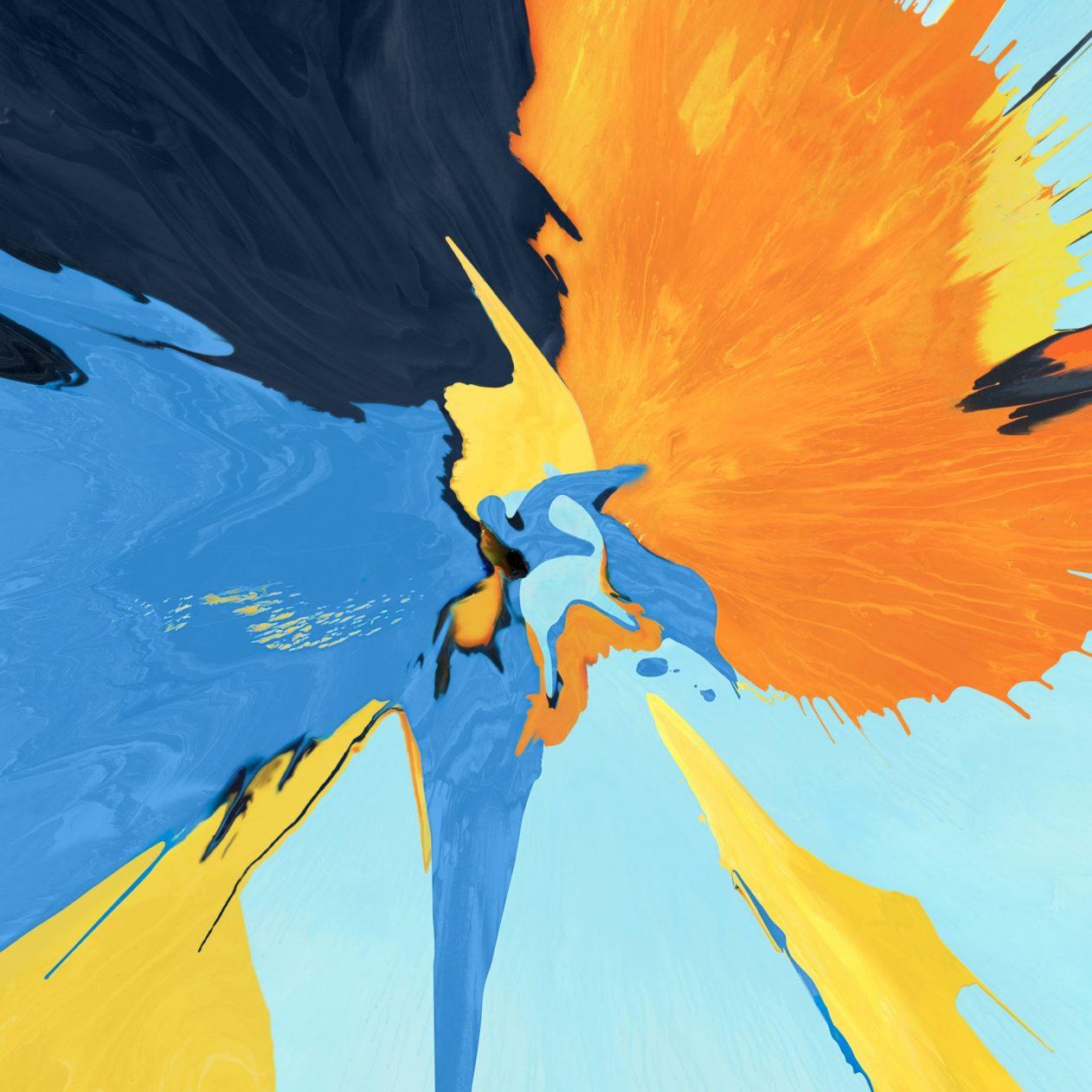 1262x1262 Parallax wallpaper 4k Splash Blue Yellow Black Ipad Wallpaper 1262x1262 pixels resolution
