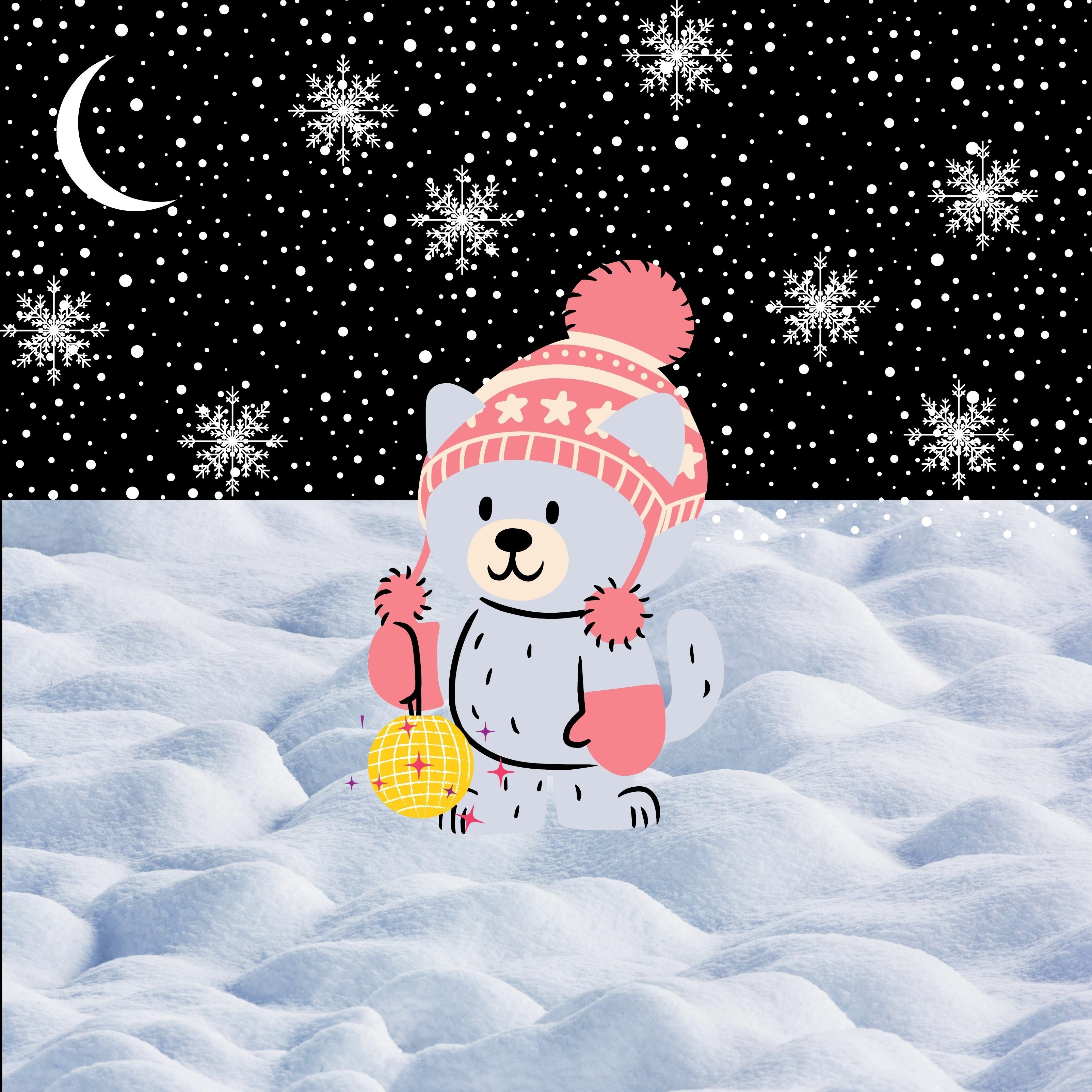 Winter Cat Gloves Cute Snowing iPad Wallpaper