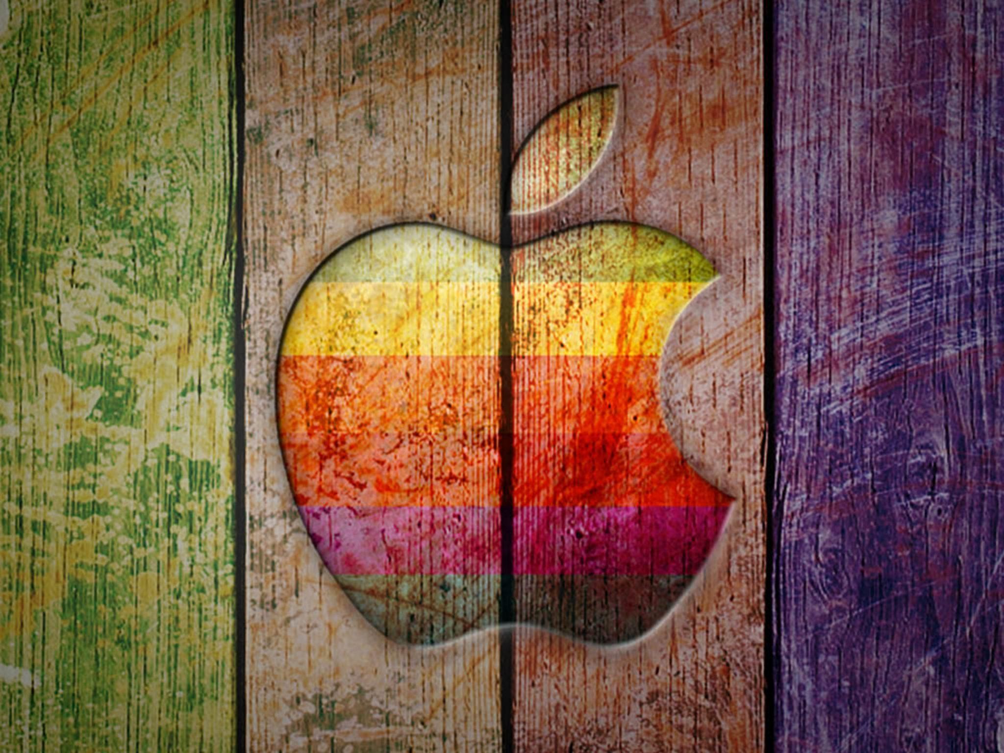 2048x1536 wallpaper Apple Logo on Colorful Wood Ipad Wallpaper 2048x1536 pixels resolution