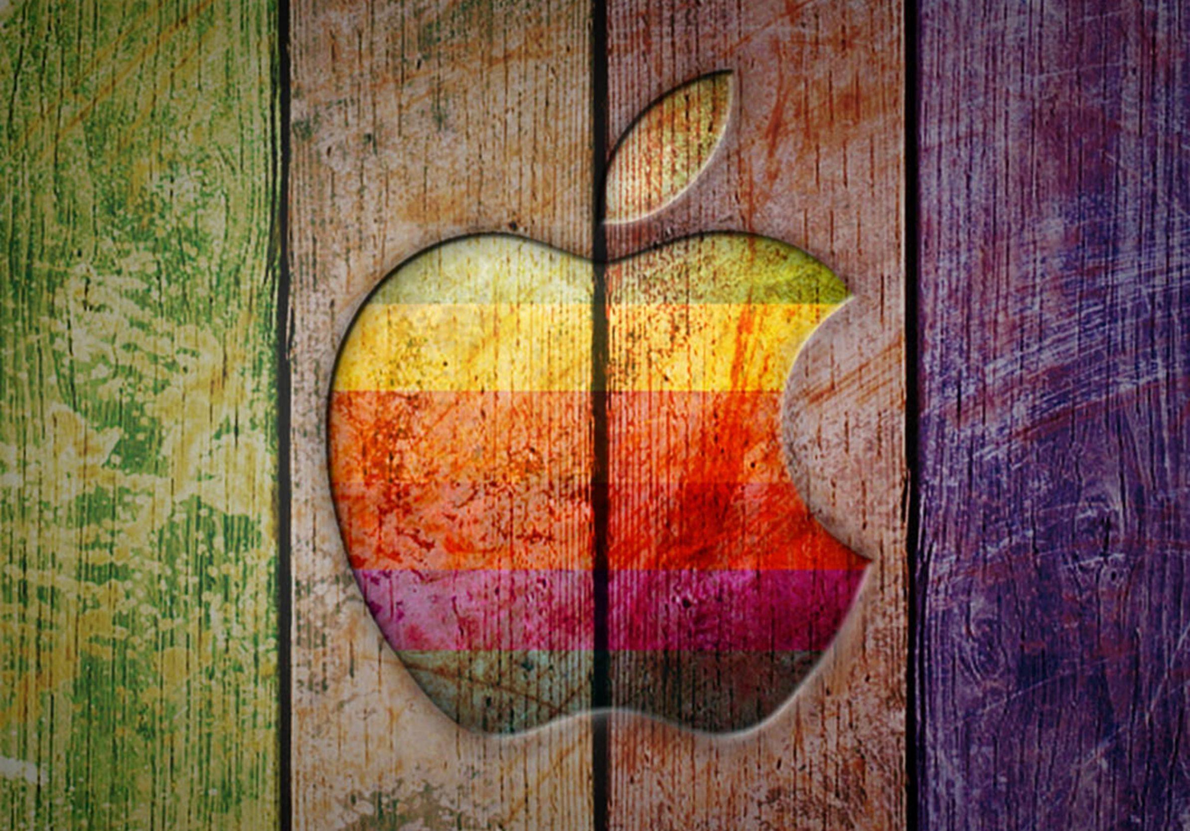 2388x1668 iPad Pro wallpapers Apple Logo on Colorful Wood Ipad Wallpaper 2388x1668 pixels resolution