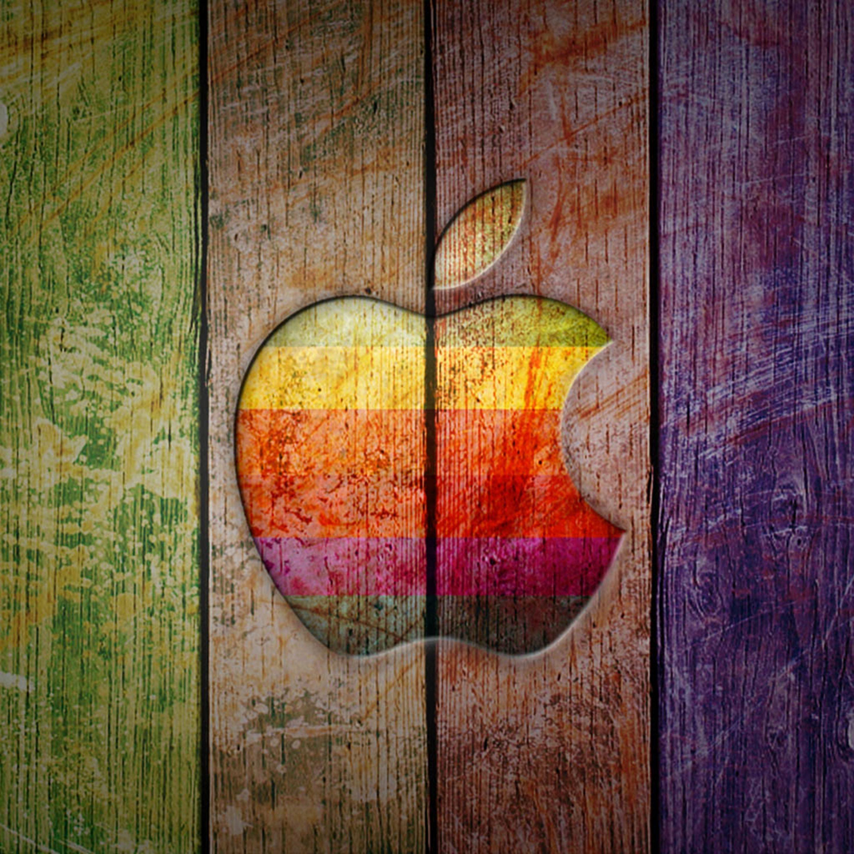 2932x2932 iPad Pro wallpaper 4k Apple Logo on Colorful Wood Ipad Wallpaper 2932x2932 pixels resolution
