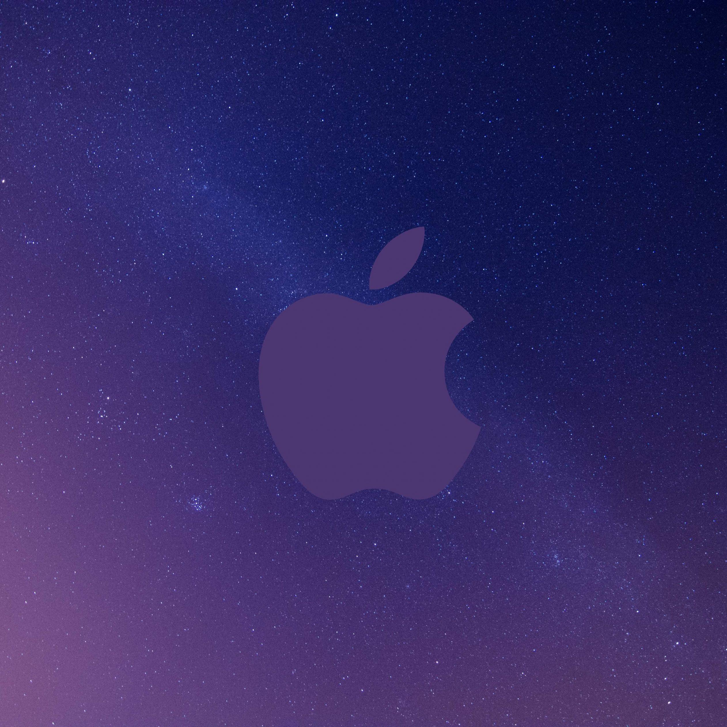 2524x2524 Parallax wallpaper 4k Apple Logo Grey Sky Night Stars Space iPad Wallpaper 2524x2524 pixels resolution