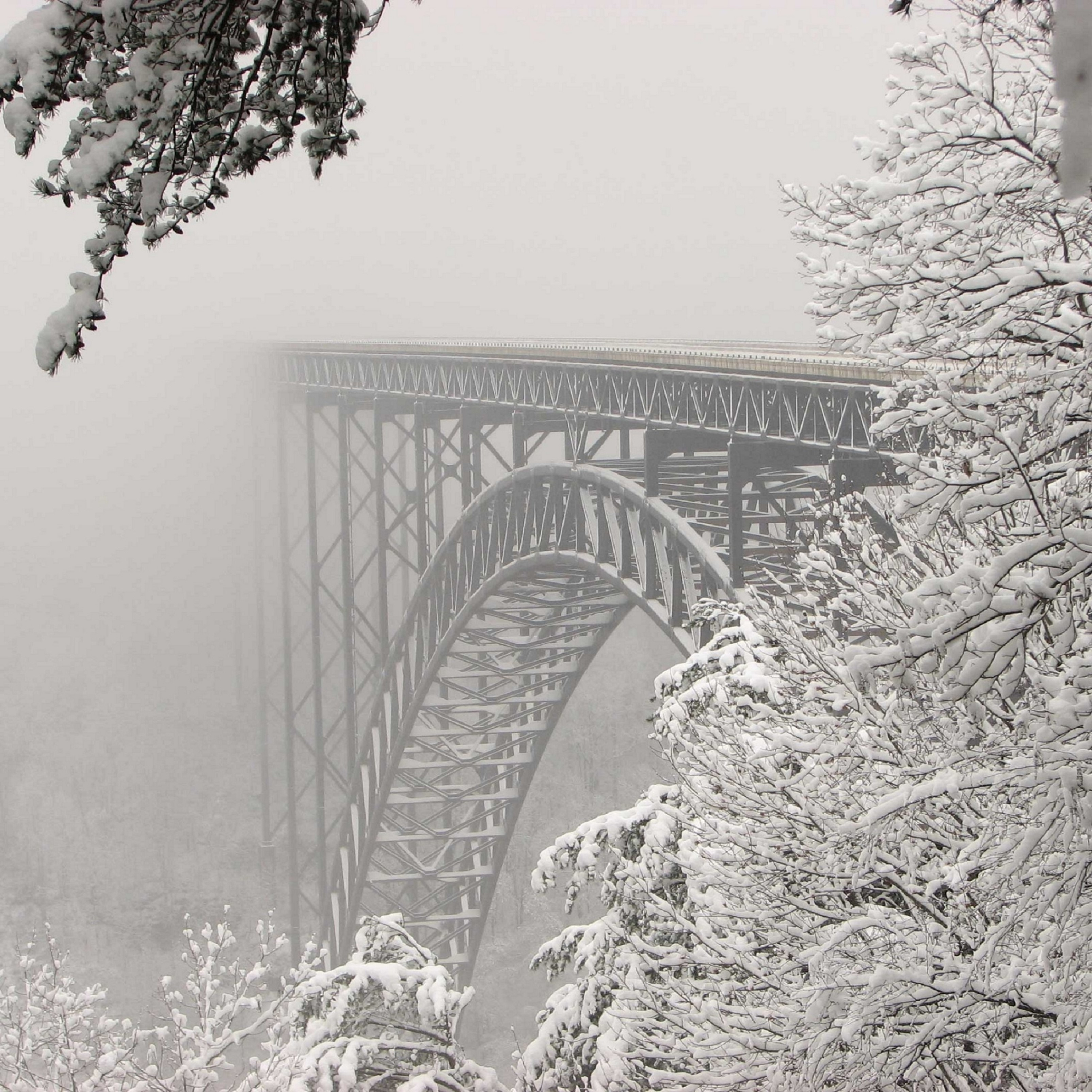 Steel Bridge Winter Snow River iPad Wallpaper