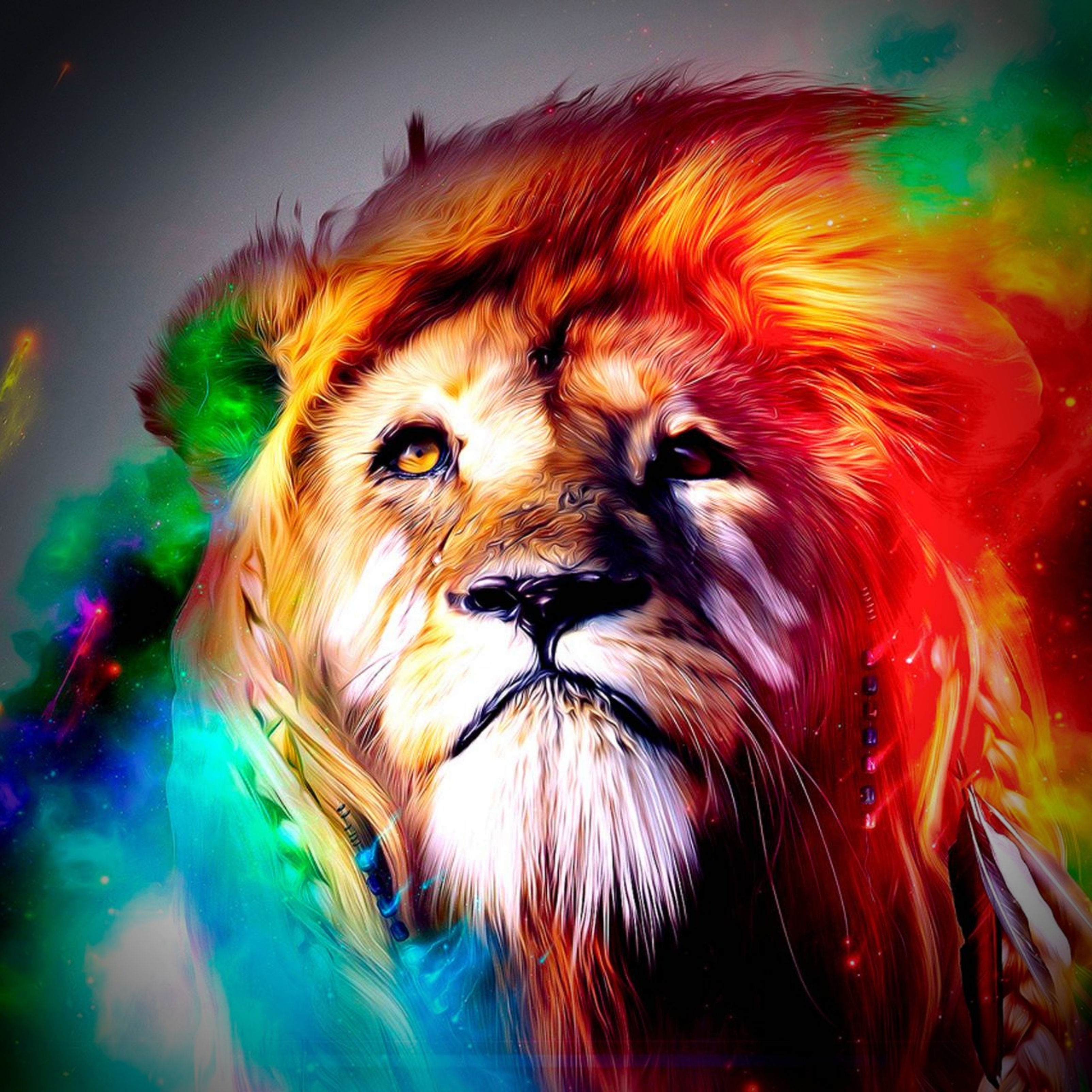 Lion Colorful Face iPad Wallpaper
