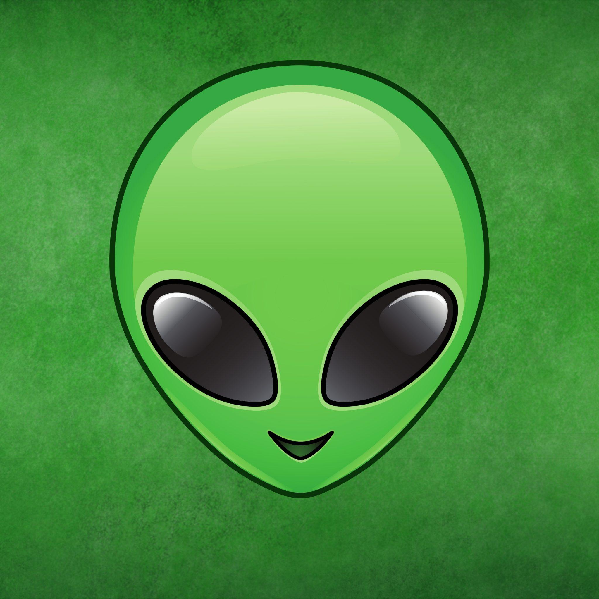 2048x2048 wallpapers iPad retina Alien Emoji Face Invader Halloween Spaceship Green iPad Wallpaper 2048x2048 pixels resolution