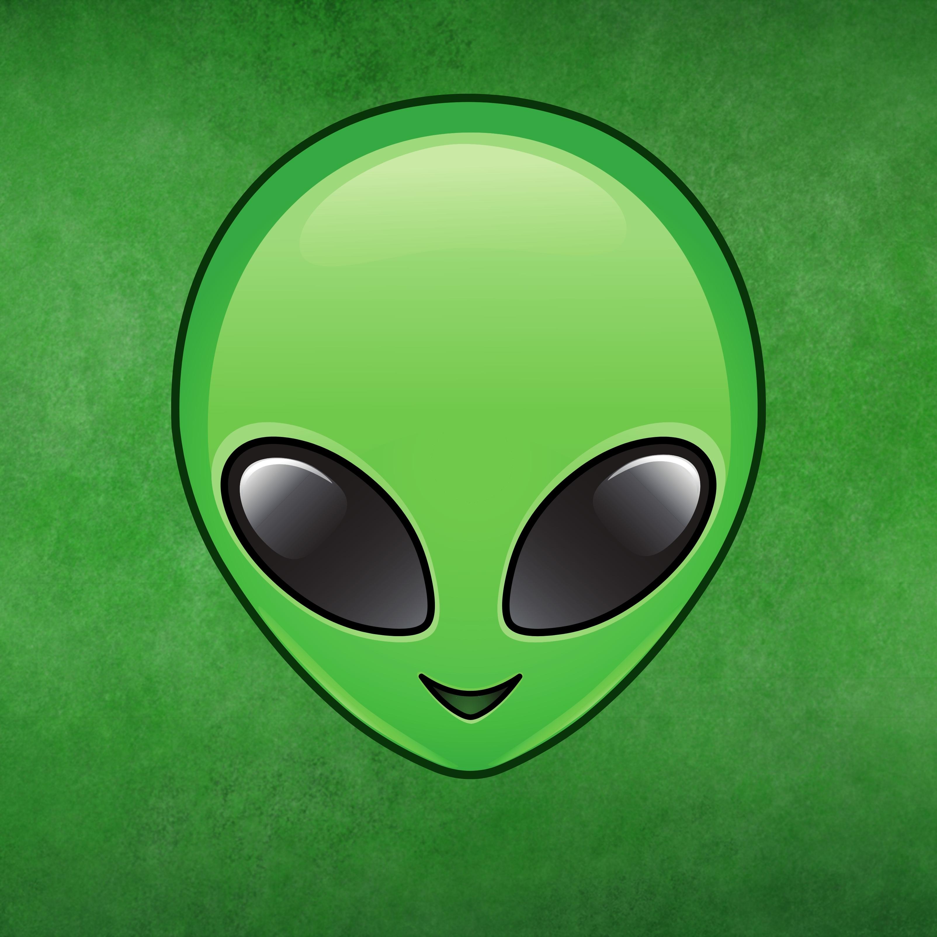 Alien Emoji Face Invader Halloween Spaceship Green iPad Wallpaper
