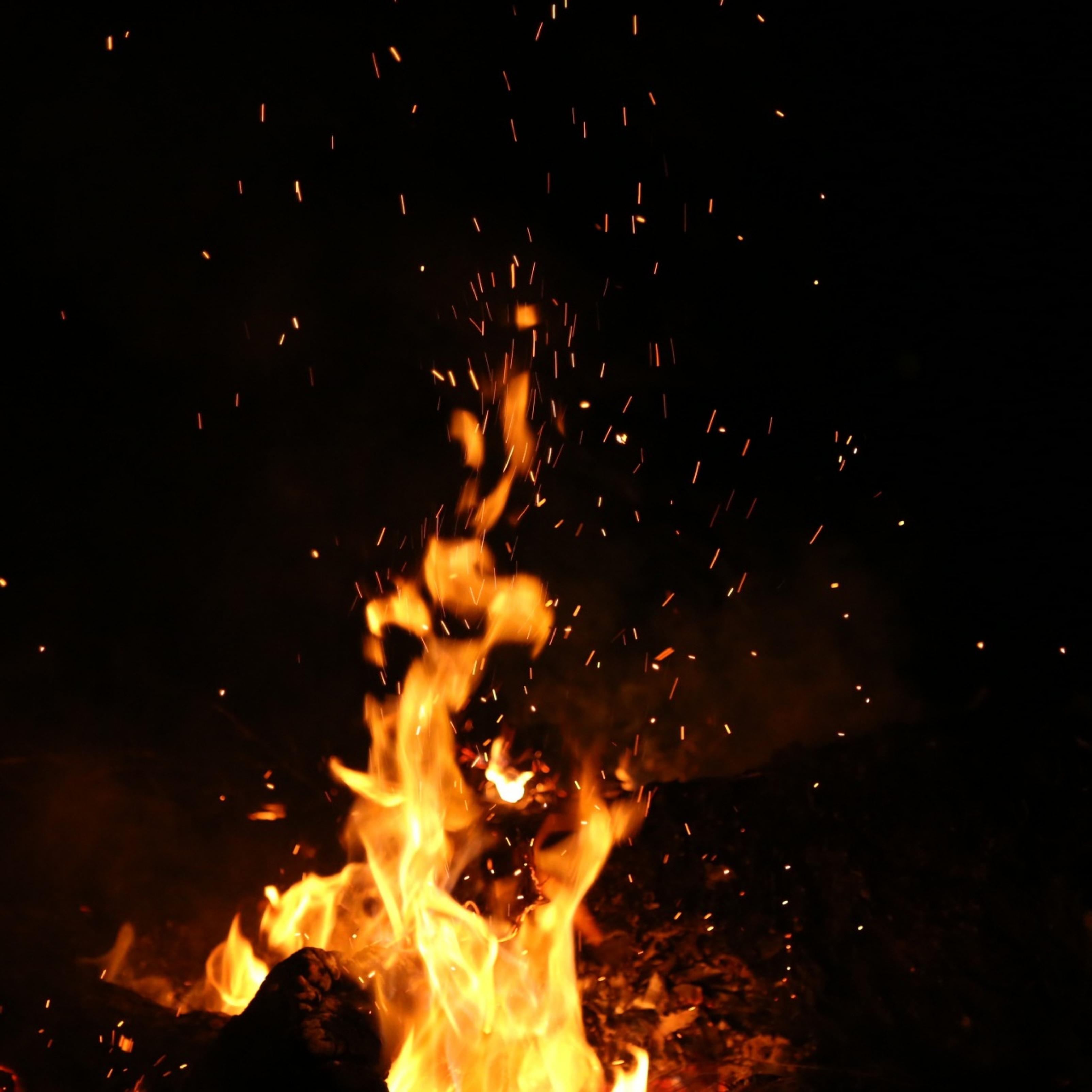 Burning Flame Dark Fire Background iPad Wallpaper