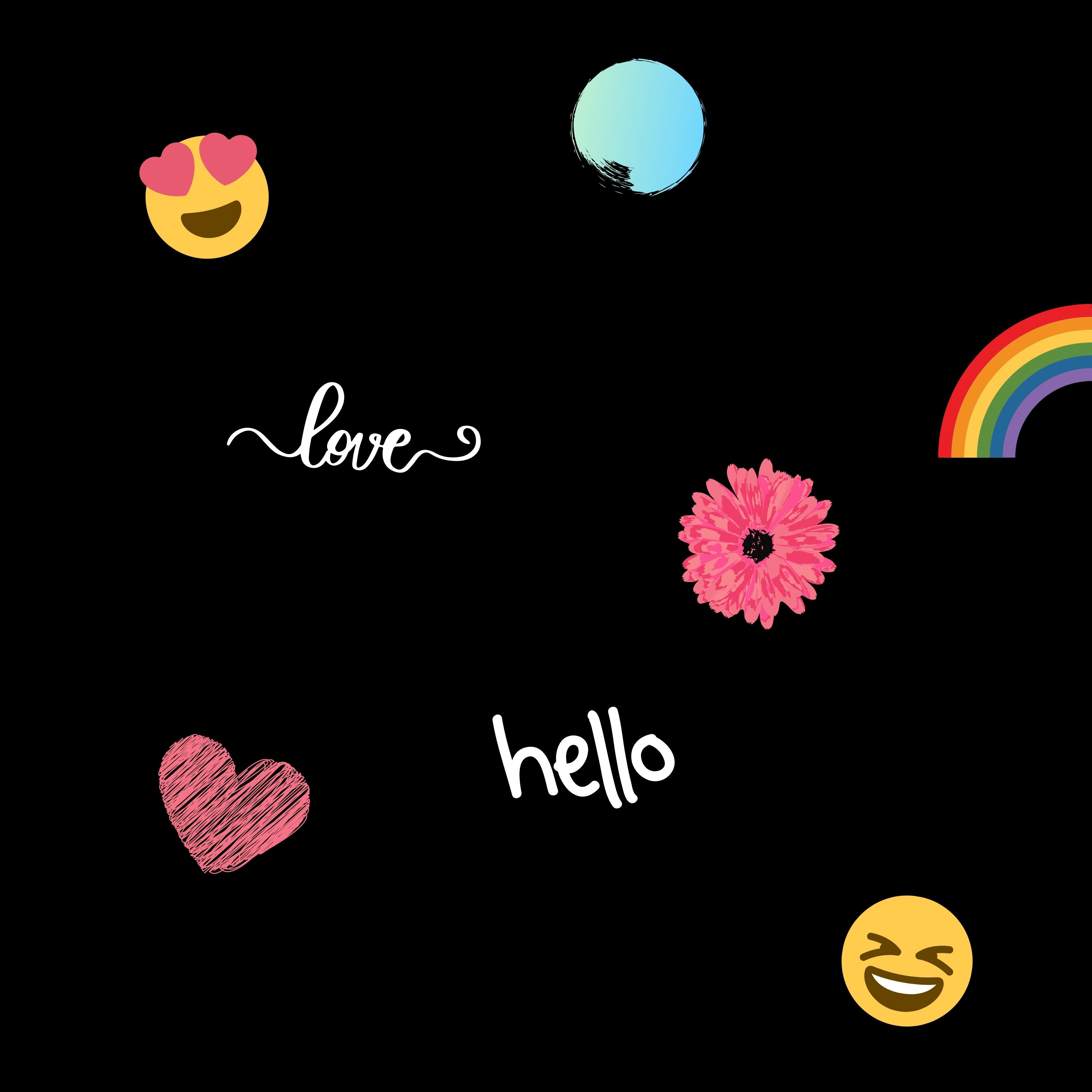 Love Fun Heart Rainbow Emoji Laughing iPad Wallpaper