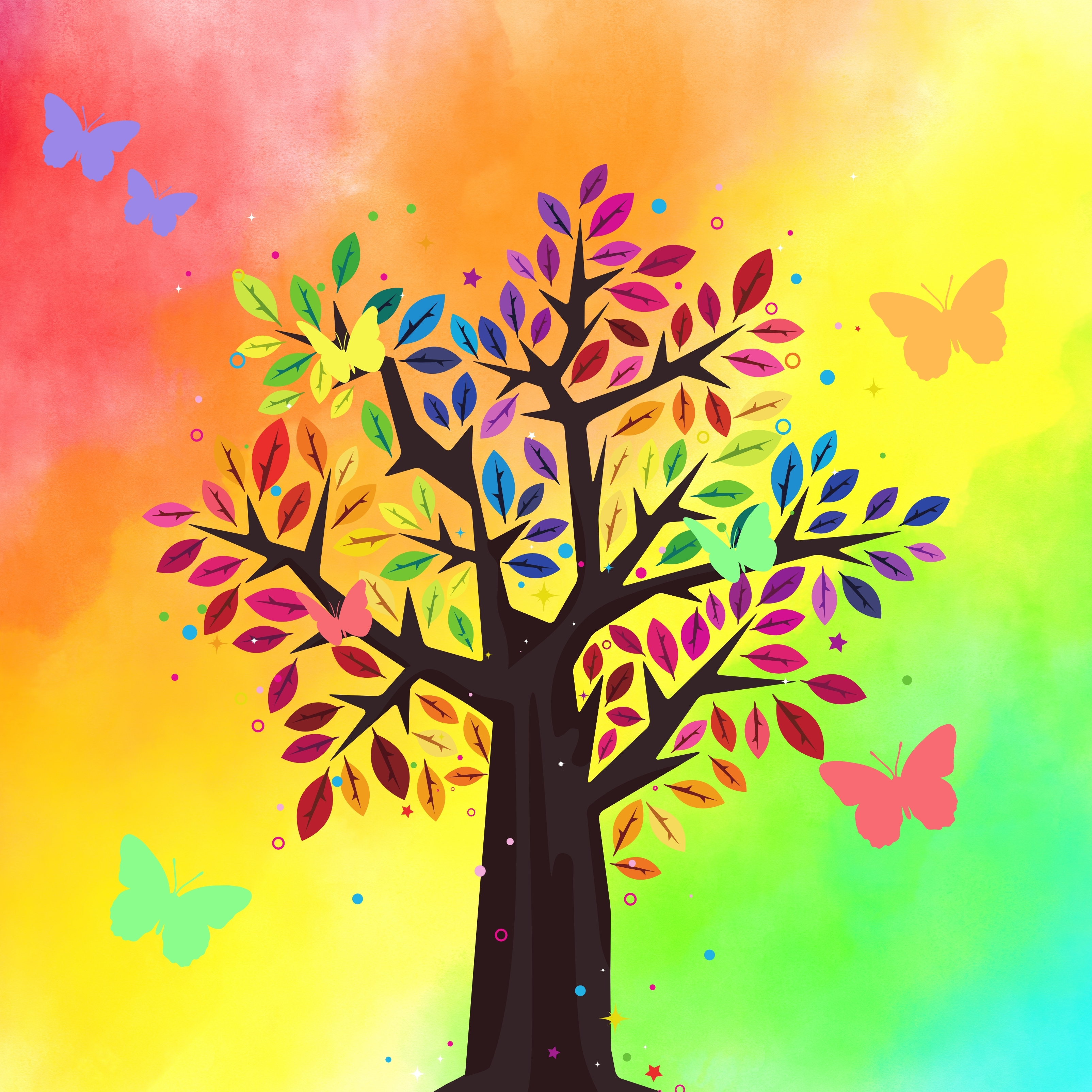 iPad Air 2 wallpapers Tree Rainbow Colorful Butterfly iPad Wallpaper